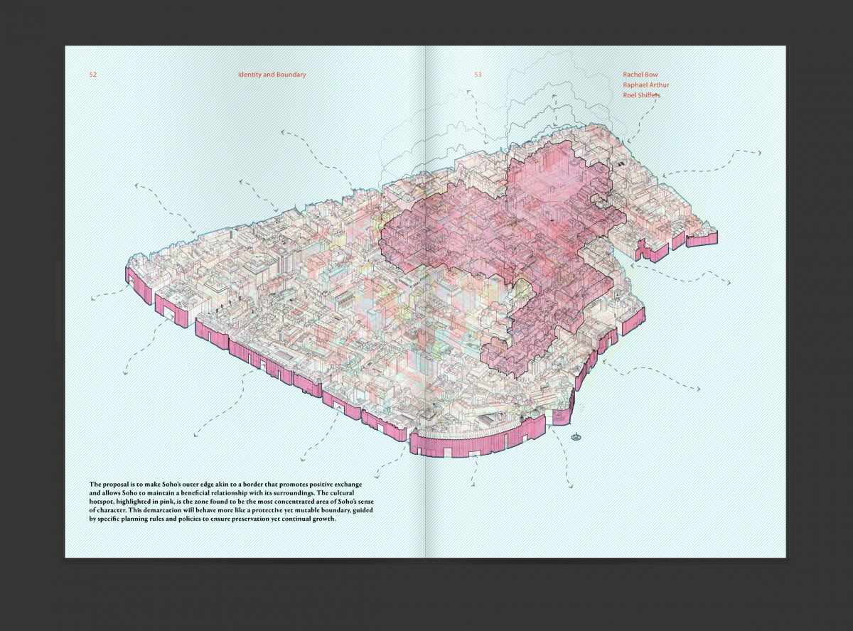 Drawing exploring identity and boundary in Soho by Rachel Bow, Raphael Arthur and Roel Shiffers